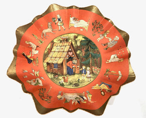 Fairytale Decorative Paper Plate, Wall Hanging, Hansel and Gretel, Mother Goose Etc. || Made in Germany