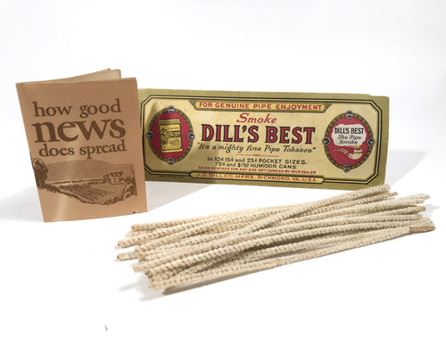 DILL'S BEST Pipe Tobacco Pipe Cleaners, Full Package, Unused || J.G. Dill Co. Richmond, Va.
