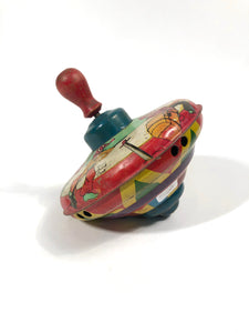 Antique Children's PIRATE Themed Spinning Top Toy, Rainbow Colors