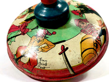 Load image into Gallery viewer, Antique Children's PIRATE Themed Spinning Top Toy, Rainbow Colors