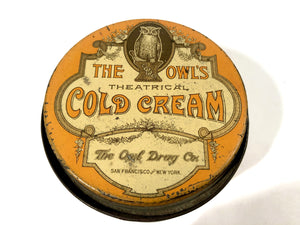 The Owl's THEATRICAL COLD CREAM Tin Cosmetic Container || The Owl Drug Co.