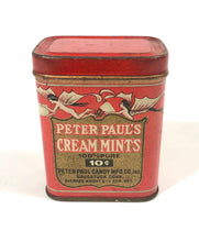 Load image into Gallery viewer, Art Deco Peter Paul's CREAM MINTS Candy Tin || Naugatuck, Connecticut