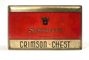 1930's SCHRAFFT'S Crimson Chest Candy Tin Box