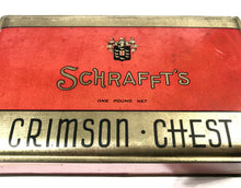 Load image into Gallery viewer, 1930's SCHRAFFT'S Crimson Chest Candy Tin Box