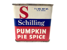Load image into Gallery viewer, Vintage SCHILLING Pumpkin Pie Spice with Original Contents || McCormick & Co., Inc.