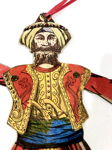 Articulated SULTAN, SHEIK, WARRIOR Die-Cut Hanging Decoration, Puppet || Halloween, Party, Decor