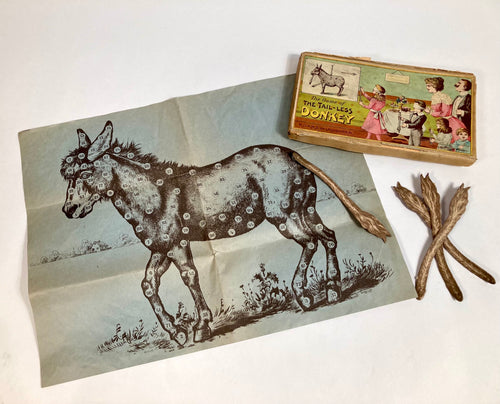Antique Victorian THE TAIL-LESS DONKEY Children's GAME, Victorian Pin-The-Tail on the Donkey