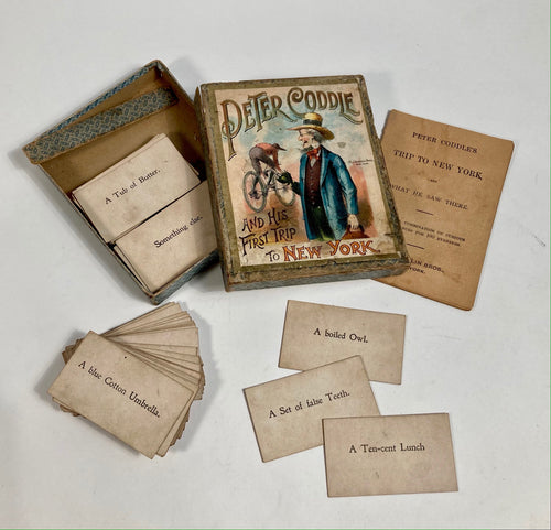 Antique 1890's PETER CODDLE & His First Trip To New York CARD GAME, McLoughlin Bros.