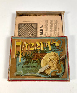 1888 Antique HALMA Checkerboard Game, Victorian Graphics, Full Game