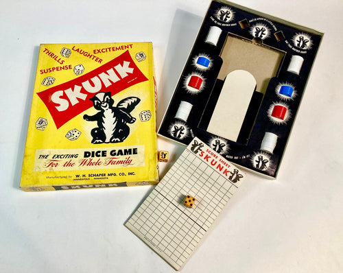 Vintage 1950's SKUNK DICE GAME, Complete Children's Board Game