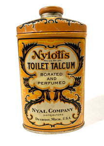 Antique NYLOTIS TOILET TALCUM POWDER, Borated and Perfumed || Nyal Company