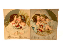 Load image into Gallery viewer, Two Victorian CHRISTMAS CARDS || Children Sleeping, Kissing