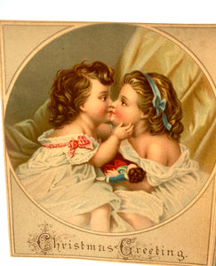 Two Victorian CHRISTMAS CARDS || Children Sleeping, Kissing