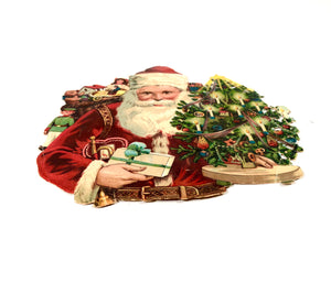 Victorian Christmas Die-cut Embossed SANTA Card/ Scrapbook Remnant