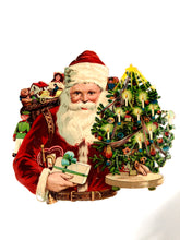 Load image into Gallery viewer, Victorian Christmas Die-cut Embossed SANTA Card/ Scrapbook Remnant