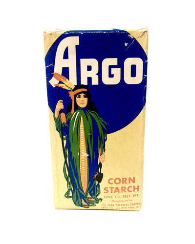 Unopened Vintage ARGO CORN STARCH Box with Original Contents, Native American, Corn || Corn Products Co.
