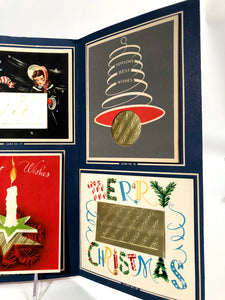 """Goldtone"" Personal CHRISTMAS CARDS Sample Book, Six Designs, Foil 