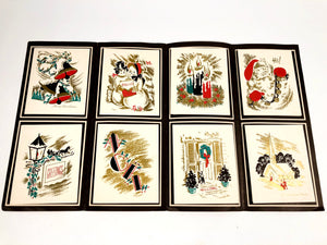 1950's Individually Styled Personal CHRISTMAS CARDS Sample Book, Eight Designs, Foil || Hye-Quality Card Co.