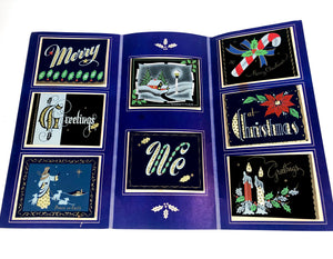 1950's Dark 'n' Hansum Personal CHRISTMAS CARDS Sample Book, Eight Designs, Foil || Hye-Quality Card Co.