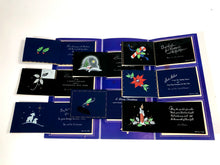 Load image into Gallery viewer, 1950's Dark 'n' Hansum Personal CHRISTMAS CARDS Sample Book, Eight Designs, Foil || Hye-Quality Card Co.