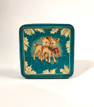 Load image into Gallery viewer, Cute and Colorful Vintage Christmas Reindeer Nut Tin