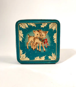 Cute and Colorful Vintage Christmas Reindeer Nut Tin