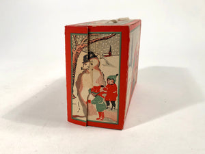 "Art Deco Era ""Merry Xmas"" BISCUIT BOX with String Handle 