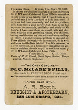 Load image into Gallery viewer, Victorian Dr. McLane's Liver Pills, Quack Medicine Trade Card || Pharmacy