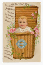 Load image into Gallery viewer, Antique Tarrant's Seltzer Aperient, Quack Medicine Trade Card || Baby Basket