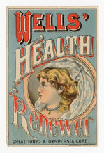 Load image into Gallery viewer, Victorian Wells' Health Renewer, Quack Medicine Trade Card || Pharmacy