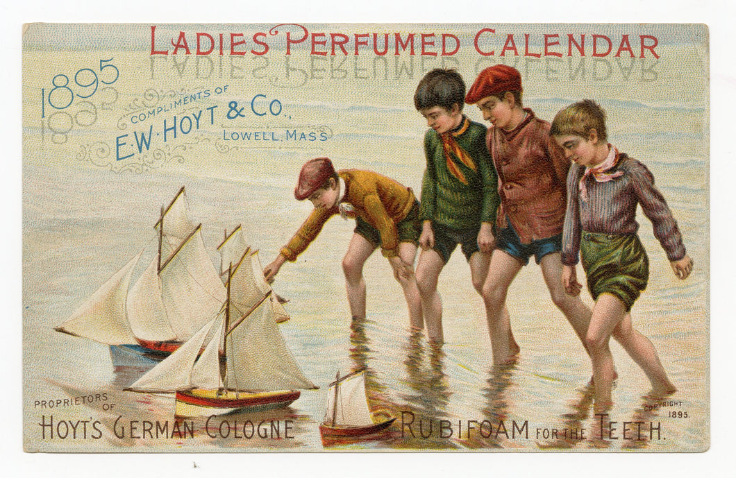 Victorian Hoyt's German Cologne Ladies Perfumed Calendar 1895