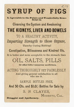 Load image into Gallery viewer, Victorian Syrup of Figs, Quack Medicine Trade Card || Cooks with Basket