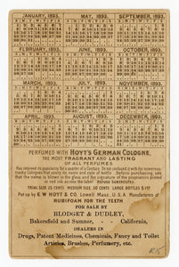 Victorian Hoyt's German Cologne Ladies Perfumed Calendar 1893