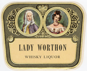 RARE Old LADY WORTHON WHISKY Liquor Label, Alcohol, Vintage