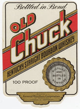 Load image into Gallery viewer, RARE Old CHUCK KENTUCKY Straight Bourbon WHISKEY Label, Alcohol, Vintage