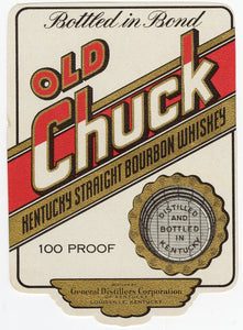 RARE Old CHUCK KENTUCKY Straight Bourbon WHISKEY Label, Alcohol, Vintage