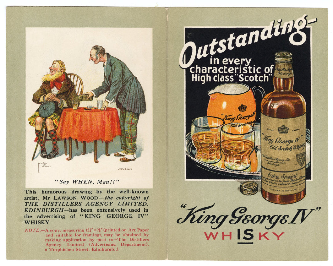 Vintage 1920's Outstanding King George IV Old SCOTCH WHISKEY Booklet