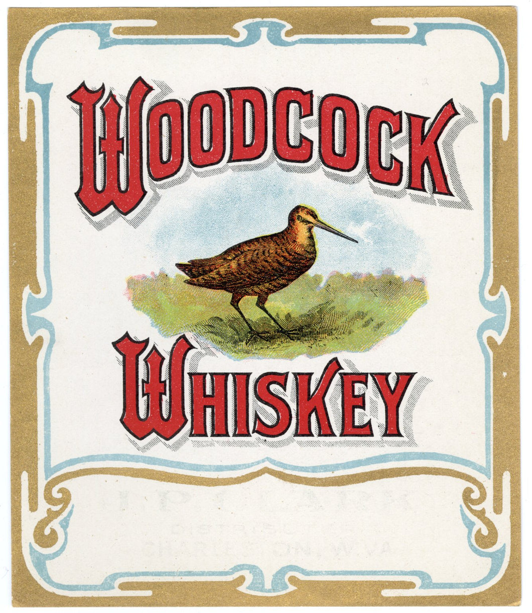 Old Vintage, WOODCOCK WHISKEY Label, Alcohol