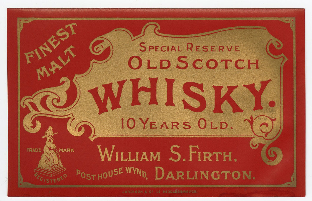 Vintage, Special Reserve Old SCOTCH WHISKEY Label, MALT, Alcohol, Gold, Red