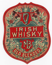 Load image into Gallery viewer, MLB IRISH WHISKEY Label || Old Blended, Trademark, Vintage - TheBoxSF