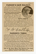 Load image into Gallery viewer, Victorian Parker's Tonic, Quack Medicine Trade Card || Pharmacy