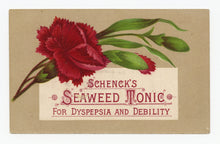 Load image into Gallery viewer, Victorian Schenck's Seaweed Tonic, Quack Medicine Trade Card || Carnation