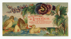 Victorian Dr. Grosvenor's Liveraid, Quack Medicine Trade Card || Ducks