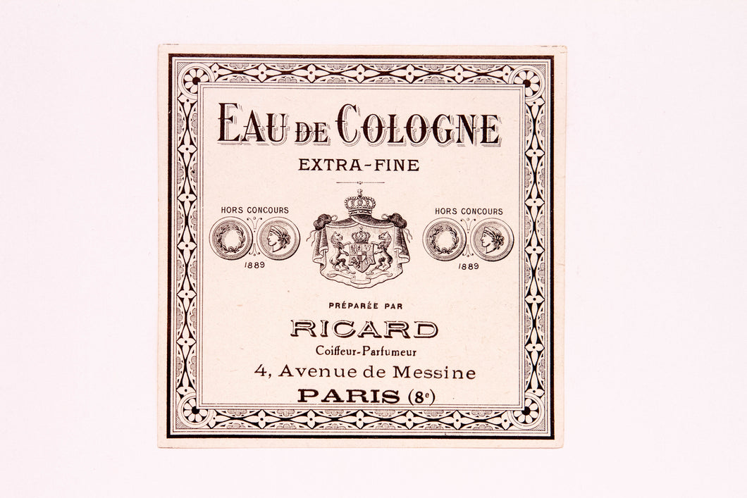 Vintage EAU DE COLOGNE, EXTRA FINE, RICARD Antique Perfume Label, Paris - TheBoxSF