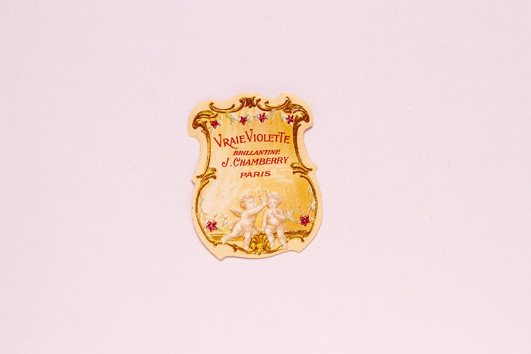 Vintage VRAIE VIOLETTE, BRILLANTINE, J. Chamberry, Authentic Perfume Label, Paris - TheBoxSF