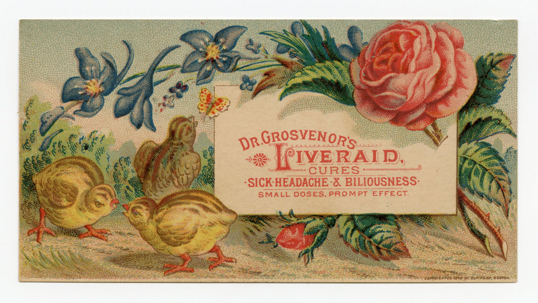Victorian Dr. Grosvenor's Liveraid, Quack Medicine Trade Card || Chicks