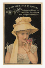 Load image into Gallery viewer, Victorian Parker's Tonic, Quack Medicine Trade Card || Beautiful Woman