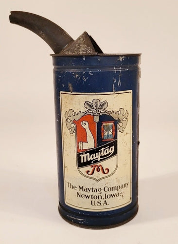 Antique 1920's MAYTAG Fuel Motor Oil Mixing Can, Automobile Tin
