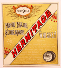 Load image into Gallery viewer, Old Vintage, HERMITAGE Sour Mash WHISKEY Label, W.A. Gaines, Old Crow, Alcohol, Gold - TheBoxSF