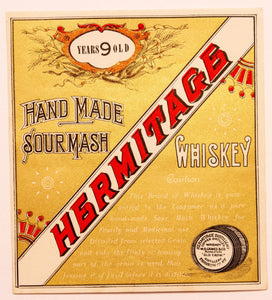 Old Vintage, HERMITAGE Sour Mash WHISKEY Label, W.A. Gaines, Old Crow, Alcohol, Gold - TheBoxSF
